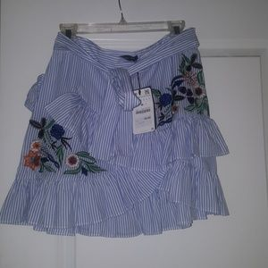 Zara blue and white  striped  skirt
